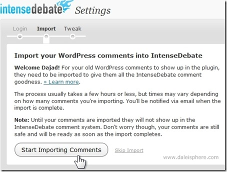 intense debate install in wordpress 2.7 - step 2 - import screen