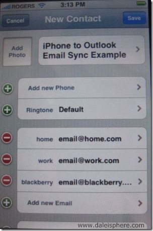 iPhone to Outlook Contact Sync Example