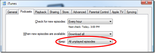 iTunes - keep all unplayed episodes option