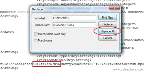iTunes - search and replace in 'iTunes Muisc Library.xml' file