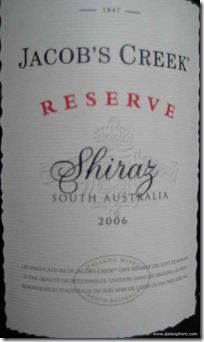 jacob's creek reserve shiraz 2006 - front label