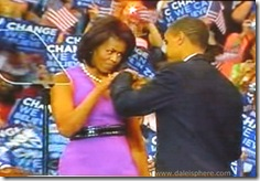 Michelle and Barack Obama Fist Bump on Night Obama Wins Nomination