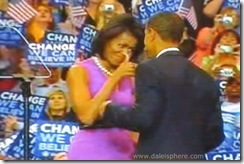 Michelle Gives Barack Thumbs Up on Night Obama Wins Nomination