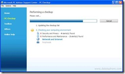 Microsoft PC Advisor - Performing a Checkup Screen
