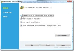 Microsoft PC Advisor - Settings Screen