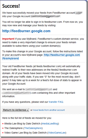 migrating from feedburner to Google - success page
