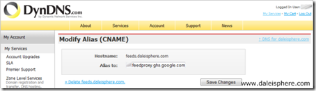 migrating from feedburner to Google - updating dyndns hostname alias