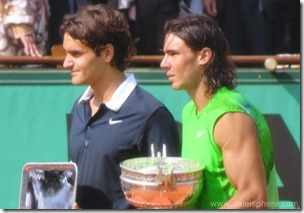 Nadal and Federe hold 2008 French Open trophies