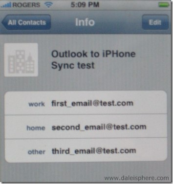 result of outlook 2007 to iphone email sync example