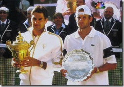roger federer and andy roddick accept trophy and plate - wimbledon 2009