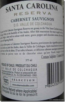 Santa Carolina Cabernet Sauvignon Reserva 2006 – 375 ml - back label
