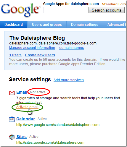setting up google apps for gmail - activate email from dashboard