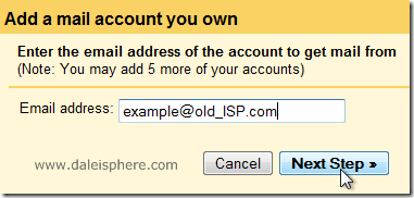 setting up google apps for gmail - add a mail account you own screen
