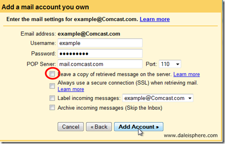 setting up google apps for gmail - add a mail account you own screen - 2nd page