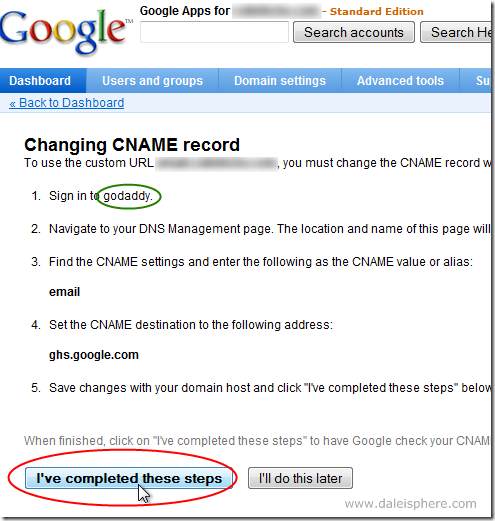 setting up google apps for gmail - Change CNAME record - i've completed these steps button