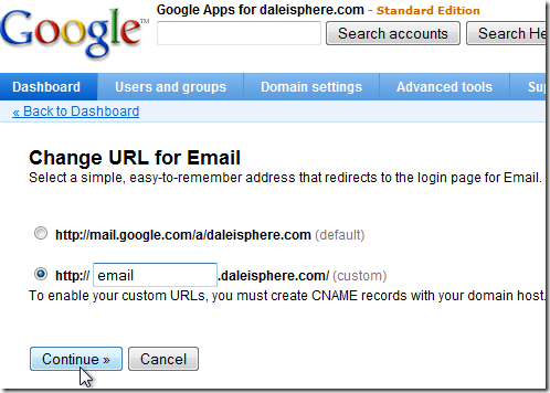 setting up google apps for gmail - Change URL for Email screen