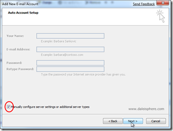 setting up google apps for gmail - configuring outlook 2007 - auto account setup page