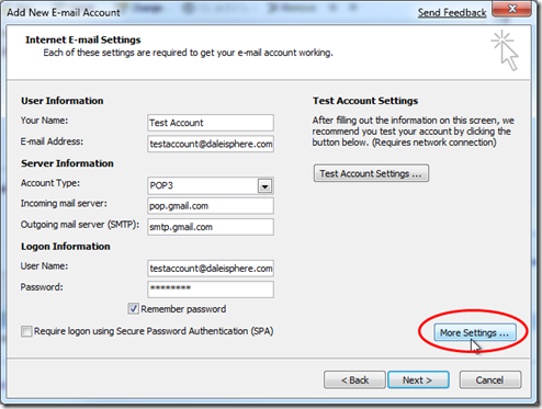 setting up google apps for gmail - configuring outlook 2007 - intenet e-mail settings page
