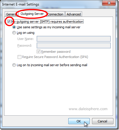 setting up google apps for gmail - configuring outlook 2007 - outgoing server tab