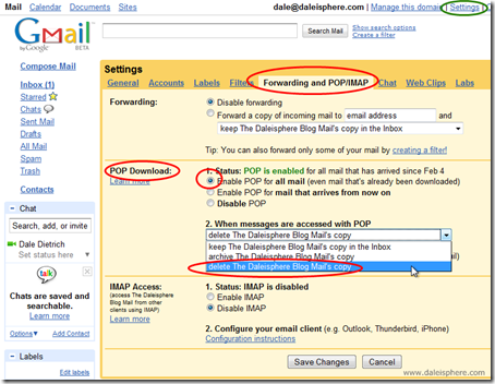 setting up google apps for gmail - configuring POP 3 settings