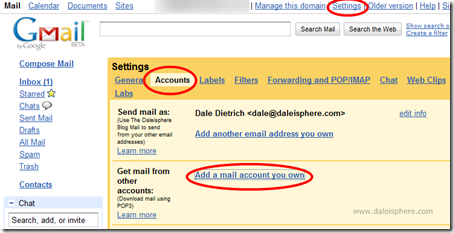 setting up google apps for gmail - downloading email from your prior email accounts