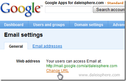 setting up google apps for gmail -  email settings scren - change URL