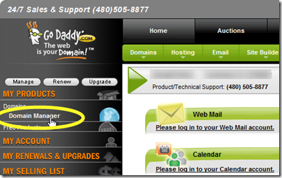 setting up google apps for gmail - godaddy 'domains manager' option