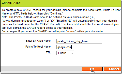 setting up google apps for gmail - godaddy - Fill in CNAME Record blanks