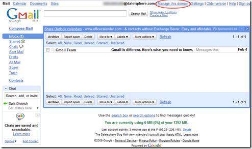 setting up google apps for gmail - google apps gmail screen
