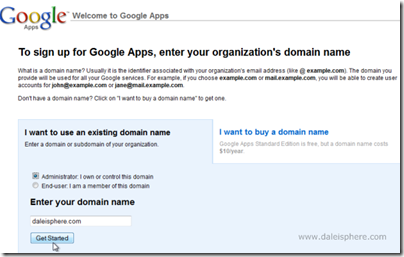 setting up google apps for gmail - sign up