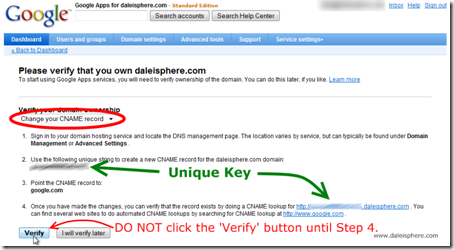 setting up google apps for gmail - verification screen