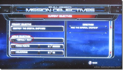 Star Wars - Force Unleashed - Default Text Glitch