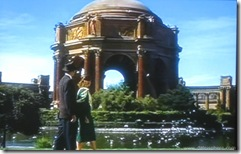 Vertigo (1958) - Jimmy Stewart and Kim Novak stroll past San Francisco's Palace of Fine Arts