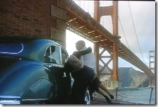 Vertigo (1958) - Jimmy Stewart rescues Kim Novak after jumping into water at Fort Point under Golden Gate Bridge