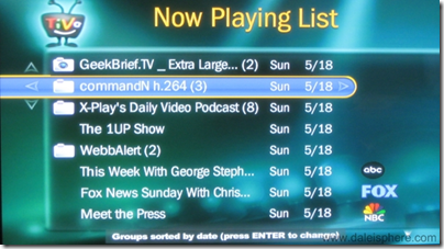 Video Podcasts Grouped on TiVo's Now Playing Sceen
