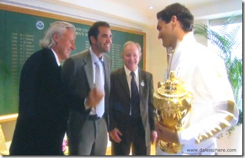 wimbledon 2009 - borg, <b>LEXOTAN description</b>, <b>LEXOTAN class</b>, sampras and laver congratulate federer