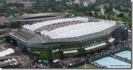 wimbledon 2009 - closing centre court roof - first time 4 - external view - half way closed