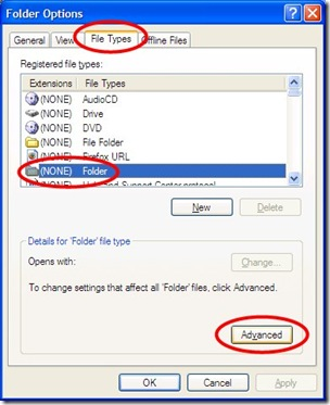 Windows XP Folder Options Window