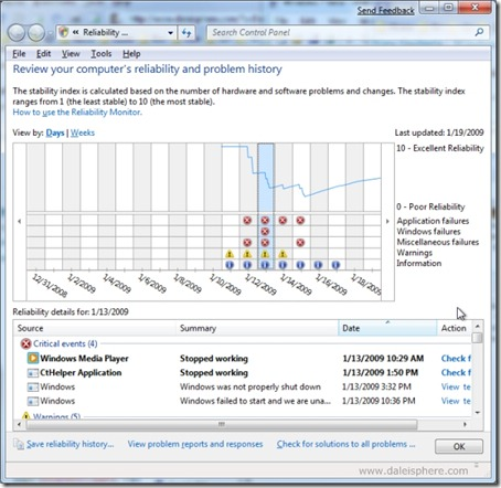 Windows 7 Beta - new reliability monitor