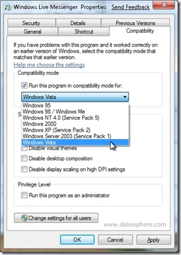 Windows 7 Beta - run windows live messenger in Vista compatibility mode