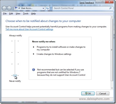 Windows 7 Beta - UAC settings screen