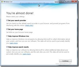 Windows 7 Beta - windows live essentials download settings screen