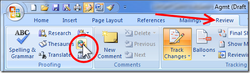Word 2007 - Clicking 'Set Language' Icon