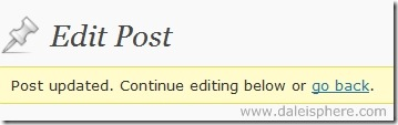 wordpress 2.7 - continue editing below or go back