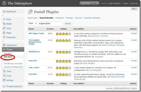 wordpress 2.7 - plugins search and install
