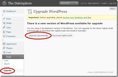 wordpress 2.7 - upgrade automatically