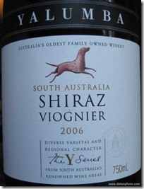 yalumba y series shiraz - viognier 2006 front label